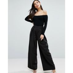Paper Dolls Palazzo Trousers (2,150 INR) ❤ liked on Polyvore featuring pants, navy, tall pants, wide-leg trousers, pleated palazzo pants, high waisted pleated pants and navy pants