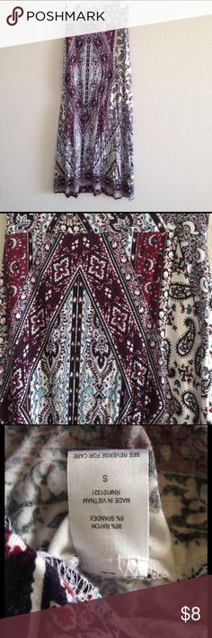"Charlotte Russe Patterned Maxi Skirt Charlotte Russe maxi skirt, size small. See second picture for close up of pattern. It has black, white, burgundy, and blue tones. Very good condition; only worn a couple of times. Skirt measures 40"" in length. Charlotte Russe Skirts Maxi"