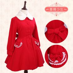 Gothic Lolita Wool Coat Christmas Sweet Cute Coat Red XS-XL Custom-made #Unbranded #Dress