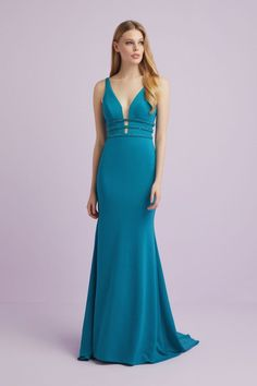 This gown is stunning with the deep plunging neckline and flared high-low hem. The three rows of beading that wrap around the bodice makes for an eye catching gown. Designer Wedding Dresses, Bridal Dresses, Plunging Neckline Dress, Occasion Wear, Mother Of The Bride, High Low, Bodice, Beading, Gowns