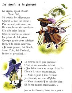 La Cigale et la Fourmi de Jean de La Fontaine How To Speak French, Learn French, French Poems, French Practice, French For Beginners, Les Fables, Poetry Unit, French Grammar, Language And Literature