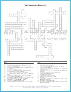 math vocabulary crossword puzzles printable math vocabulary crossword puzzles 4th grade. Black Bedroom Furniture Sets. Home Design Ideas
