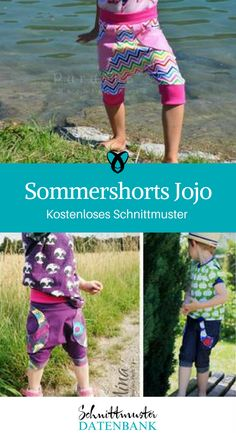 Sommershorts Jojo Children's summer shorts Children's trousers Knickerbocker for kids Sewing with jersey Free sewing pattern Free sewing instructions Sewing Patterns Free, Free Sewing, Mature Fashion, Sewing For Kids, Summer Shorts, Crafts For Teens, Naha, Boy Or Girl, Kids Outfits