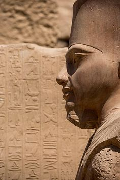 Ancient Egypt ©: Detail of a Statue of Tutankhamun (r. BC) in the form of the God Amun-Re in Karnak Temple Complex, Luxor, Egypt. Ancient Egyptian Art, Ancient Ruins, Ancient Artifacts, Ancient History, Art History, Ancient Mexican Civilizations, Egypt Museum, Old Egypt, Valley Of The Kings