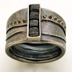 Ring   Michael Zobel.   Sterling silver, platinum and diamonds