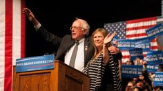 Democratic presidential candidate Sen. Bernie Sanders (D-VT) appears with his wife Jane at a rally on April 5, 2016 in Laramie, Wyoming.