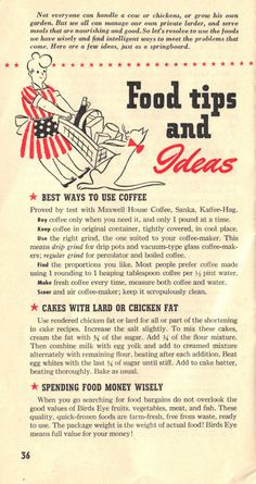 """WWII Pamphlet, """"Recipes for Today,"""" published by General Foods Corporation, 1943 ~ page 36 Retro Recipes, Old Recipes, Vintage Recipes, Cooking Recipes, Vintage Advertisements, Vintage Ads, Vintage Posters, War Recipe, Food Hacks"""