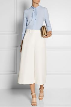 Fendi | Cotton-crepe culottes | ADAM LIPPES Crepe blouse | GIVENCHY Sara sandals in beige leather|MAIYET Amonet leather shoulder bag |IAM BY ILEANA MAKRI Enameled gold-plated safety pin cuff |J.CREW Gold-plated cubic zirconia cuff |NET-A-PORTER.COM