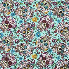 Folkloric Skulls Turquoise