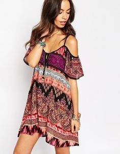 Enlarge Band of Gypsies Mandala Cold Shoulder Swing Dress In Print