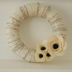 Poppy Yarn Wreath by theberkleybungalow on Etsy, $38.00