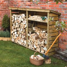 Rowlinson Large Garden Log Store £199 Pressure treated outside wooden log store. This log store comes complete with a slated roof, back and side walls to allow air to circulate through the logs, to prevent dampness. It has a base to protect against moisture being drawn out of the ground and into the logs at the bottom of the store. The shelf shown is included and can be positioned at any height. Height – 1560mm Width – 2290mm Depth – 560mm