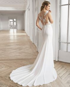 A-line wedding dress in crepe Georgette and beaded lace. Deep-plunge neckline and lace back with sheer inserts. Wedding Dress Pictures, Pink Wedding Dresses, Wedding Gowns, Aire Barcelona Wedding Dresses, Wedding Dresses Pinterest, Gown Photos, Dress Out, Bustier, Perfect Wedding Dress