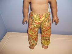 American 18 Inch Doll clothes handmade pants gold green and orange paisley by sue18inchdollclothes on Etsy