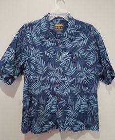 WOOLRICH John Rich and Bros Cotton Linen Mens XL Camp Shirt Hawaiian Jungle Fern #Woolrich #Hawaiian