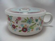 "Microwave Souper Soup Coffee Mug Bowl 5-1/2"" Steam Lid Bright Beautiful Flowers  #BostonWarehouseTradingCorp"