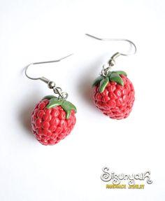 Polymer Clay Raspberry Earrings