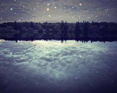 "Lake photograph | starry night sky | surreal photograph | stars celestial | cloud reflection | dark indigo blue  ""Perfect Light"""