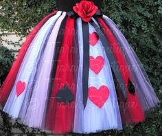 "Queen of Hearts - Adult Teen Pre-teen Costume Tutu - Custom Sewn Tutu - up to 36"" long - For Halloween and Birthday - Size Small"