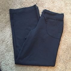 Lululemon Still Pants These are a wide legged relaxed fit pant. Size 8 but run big. Waist is 16 inches in front and inseam is 31 inches. Brand new condition- worn maybe twice. 11.5 inch at bottom of leg in front. lululemon athletica Pants Wide Leg