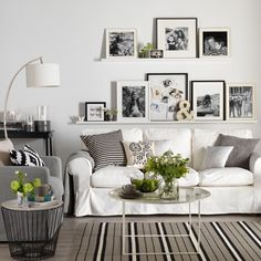 Monochrome living room with picture display