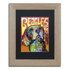 """Trademark Art 'Beagle Love' by Dean Russo Framed Painting Print Matte Color: White, Size: 20"""" H x 16"""" W x 0.5"""" D"""
