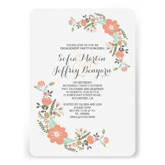 Cute flowers modern engagement party invitation