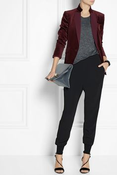 Burgundy jacket, grey top, black pants