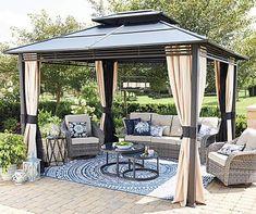 Wilson & Fisher Lakewood Patio Furniture Set with Hard Top Gazebo - Big Lots Outdoor Gazebos, Backyard Gazebo, Backyard Patio Designs, Pergola Designs, Outdoor Areas, Backyard Landscaping, Landscaping Ideas, Outdoor Decor, Gazebo On Deck