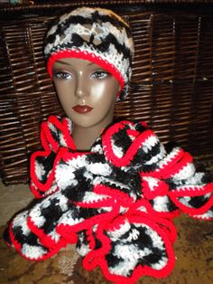 Black, White and red hat and ruffled scarf set on Etsy, $55.00