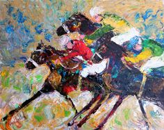 Original Kentucky Derby palette knife painting by Karensfineart