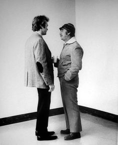 Clint Eastwood and director Don Siegel confer on the set of Dirty Harry