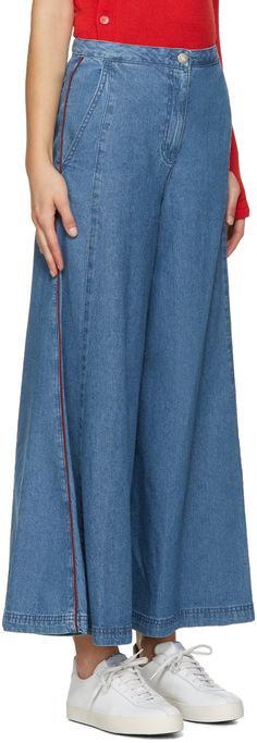 SJYP: Blue Wide Flared Jeans | SSENSE