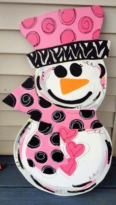 Valentines Day Snowman  Valentine door hanger  winter by paintchic, $46.50