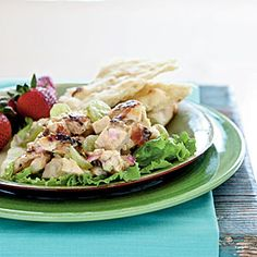 Healthy Grilled Chicken Salad Recipe. View the full recipe at www.cookinglight.com #healthy_recipes #weightloss_recipes