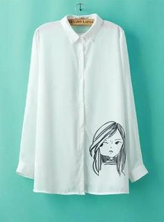 Ladies Shirt - Chiffon / Long Sleeves / Small Pointed Collar / Anime Style Print