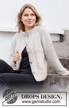 Baby Knitting Patterns, Ladies Cardigan Knitting Patterns, Cardigan Pattern, Jacket Pattern, Crochet Patterns, Drops Design, Cable Knitting, Free Knitting, Sky E