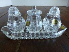Bohemia Czech Crystal Glass Salt & Pepper Shaker Mustard Jar Set with Tray