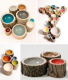 cool bowls... this would be a great idea for the dog food / water bowls