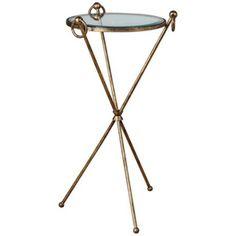 Uttermost Davke Antique Gold Leaf Accent Table -