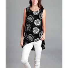 Sunflower Black & White Floral Hi-Low Tunic ($20) ❤ liked on Polyvore featuring plus size women's fashion, plus size clothing, plus size tops, plus size tunics, plus size, sleeveless tops, plus size long tunics, plus size black and white tops and black white tunic