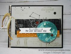 Masculine Card Idea with Going Global stamps, Going Places Designer Series Paper Stack, and World Traveler Embossing Folder  . . . details on my blog . . . www.stampingeorgia.com