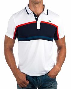 Polos Lacoste Sport - Blanco & Marino | Envio Gratis Lacoste Polo Shirts, Lacoste Sport, Camisa Polo, Mens Polo T Shirts, Sports Shirts, Polo Fashion, Mens Fashion, Printed Shirts, Casual Shirts