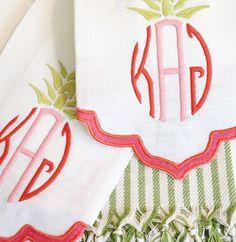 john robshaw fiza guest towel | pineapple monogram | the loveliest | theloveliestcompany.com