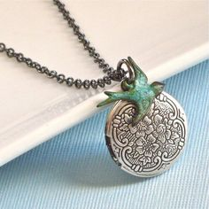 Small Silver Locket  Bird Necklace by mcstoneworks on Etsy, $27.00