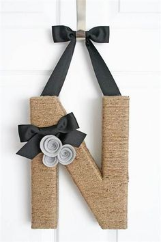 This jute-wrapped monogram wreath makes a great personalized gift.