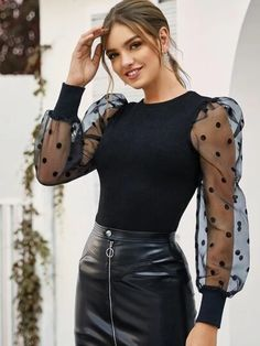 Classy Outfits, Trendy Outfits, Cool Outfits, Look Fashion, Girl Fashion, Fashion Outfits, Spring Fashion, Sleeves Designs For Dresses, Bishop Sleeve