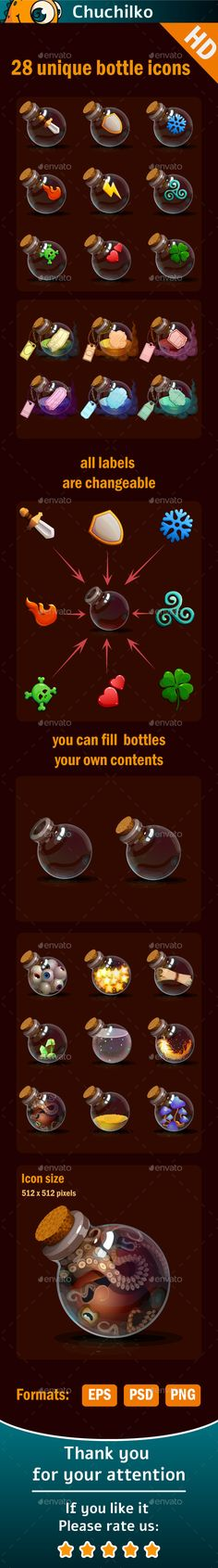 Magic bottles icons — Photoshop PSD #app #bottles • Available here → https://graphicriver.net/item/magic-bottles-icons/11613554?ref=pxcr