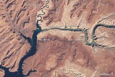 Watch the water disappear from the northern reaches of Lake Powell in this animation consisting of natural-color images taken by the Landsat series of satellites in spring between 1999 and 2014. The first image, from March of 1999, is labeled. It pauses for an extra second, as does the final image in the series, from May 2014. (Source: NASA Earth Observatory)