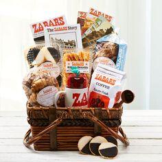 Zabar's Story Basket $110 A taste of New York in a basket...Zabar's chocolate babka, Zabar's cinnamon rugelach, Zabar's cheese sticks, Zabar's black and ...